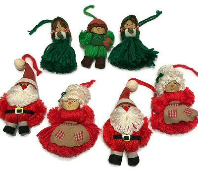 Vintage 70s Hallmark Yarn Doll Christmas Tree Trimmer Ornaments Lot of 7
