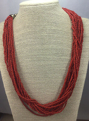Vintage Necklace Glass Coral Color Hand Cut bead Multi Strand Silvertone