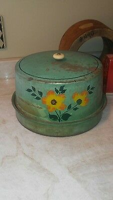 Antique VTG TOLE 1930s Painted Metal PIE/CAKE Carrier/Saver GREEN Glass Knob