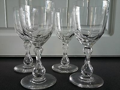Set 4 Quality Cut Glass Victorian Wine Toasting Glasses 19th Century c1870