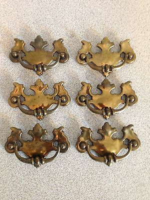 "Set Of 6 Vintage Chippendale Brass Batwing Drawer Pulls, 3"" On Center"
