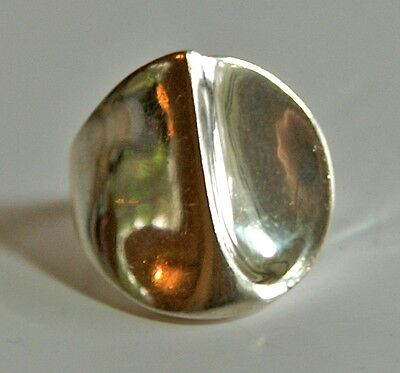 Vintage solid 925 sterling silver chunky ring with asymmetric crown