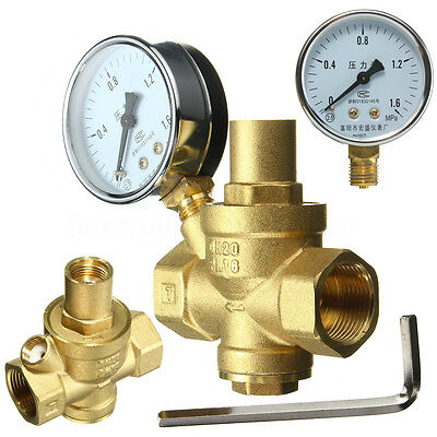 DN20 3/4 '' Bspp Brass Water Pressure Reducing Valve With Gauge Flow Adjustable