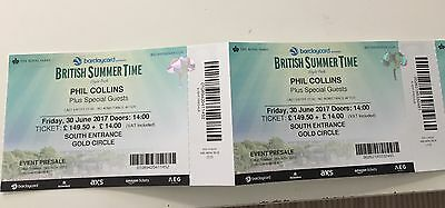 2 x Phil Collins Gold Circle Hyde Park Tickets. 30 June. British Summertime