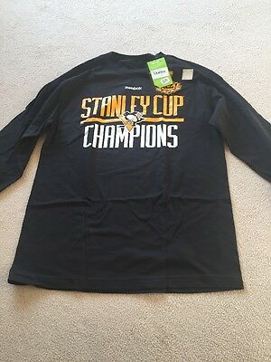 Pittsburgh Penguins Long Sleeve Stanley Cup Champions Top New With Tags