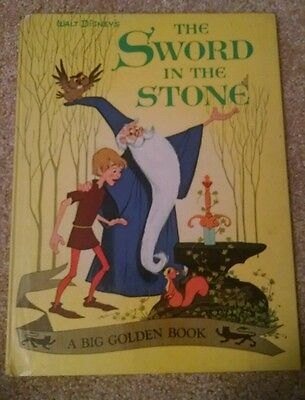 """1963 Big Golden Book The Sword in the Stone """"A"""" printing Walt Disney Camelot"""