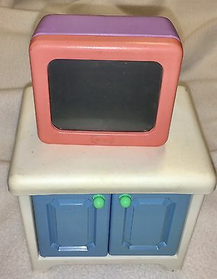 Vintage Little Tikes Doll House TV Television And Cabinet