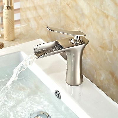 Brushed Nickel  Bathroom Basin Sink Faucet Waterfall Spout Single Hole Mixer Tap