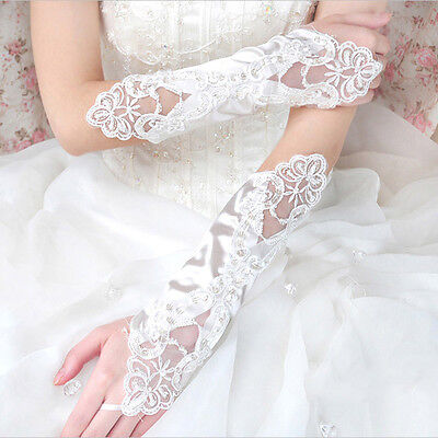 Fashion Womens Bridal Gloves Lace Fingerless Satin Wedding Party Prom Gloves  UK