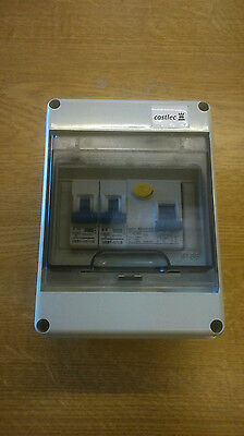 2 Way Garage Caravan Shed Boat Mini Consumer Unit 40A 30Ma RCD 2 MCBS Fuse Box