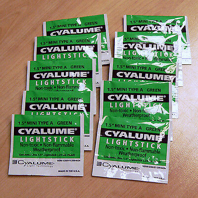 "10 x 1.5"" Cyalume CHEMLIGHT Lightstick NATO Issue Green Mini Glow Sticks"