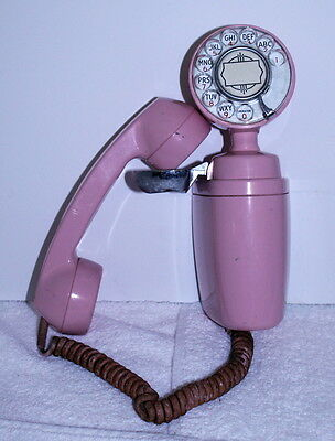 Rare 1950's Automatic Electric Bell Pink ROTARY DIAL WALL Telephone Phone