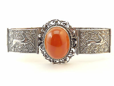 c1900, ANTIQUE ART NOUVEAU FINELY CAST SOLID SILVER & CARNELIAN PANEL BRACELET