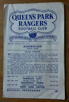 RARE 1963/64 QPR vs Hibernian Friendly match