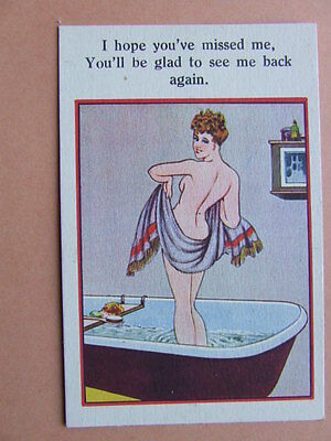 Naked Girl in the Bath.  1930's spicy card.  A3.