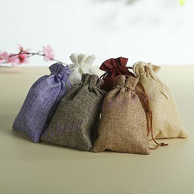 5 10 50 Wedding Favor Hessian Burlap Jute Favour Gift Bags Drawstring Sack Pouch