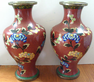 Early 20th Century Chinese Cloisonné Vase Pair Flowers on Rust Ground