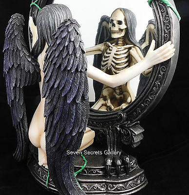 Angel of Darkness Mirror Figurine Ornament Gothic Occult Altar Statue | NEW IN