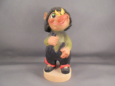 """Henning of Norway Carved Wood Troll w Butterfly Figure 6"""""""