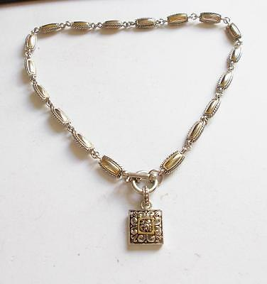 Vintage 1980's Silver Tone & Gold Tone Metal Beads Chain T Bar Clasp Necklace