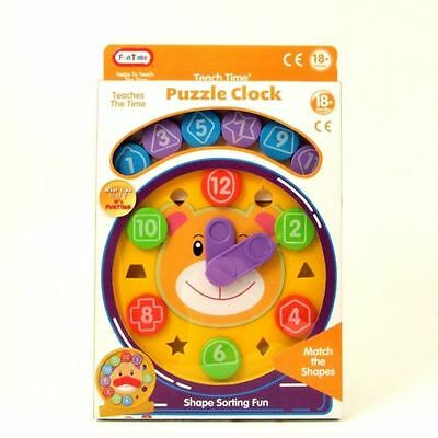 Funtime Toy Clock Educational Puzzle Shape Coloured Teach Time Moving Hands Baby