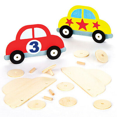 5 Wooden Car Template Kits for Children to Decorate. Creative Craft Set for Kids