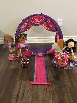 Groovy Girls Toy Lot Stage Dolls Guitar Drum Kit Stands Etc