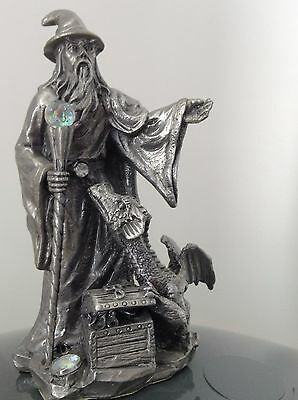 """Figure Of A Wizard And Dragon With Treasure Chest And Crystal ( Stands 4 1/2 """")"""