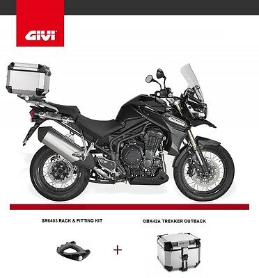 Triumph TIGER EXPLORER 1200 2014 TREKKER OUTBACK 42 TOP BOX + GIVI SR6403 RACK