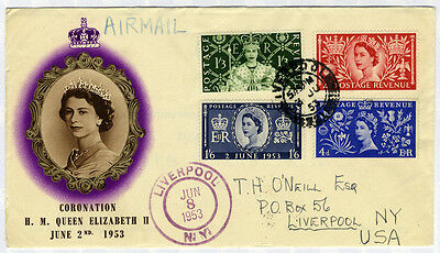 1953 Coronation illustrated Airmail First Day Cover to New York, USA . . .