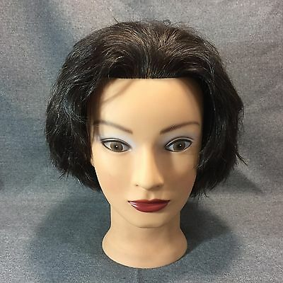 Cosmetology Mannequin Head Female Used 100% Human Hair Display Model Hats Scarf