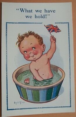 Donald McGill:   What we have we hold!  Patriotic child in bath.