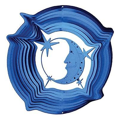 Moon & Star Blue Wind Spinner Large Stainless Steel