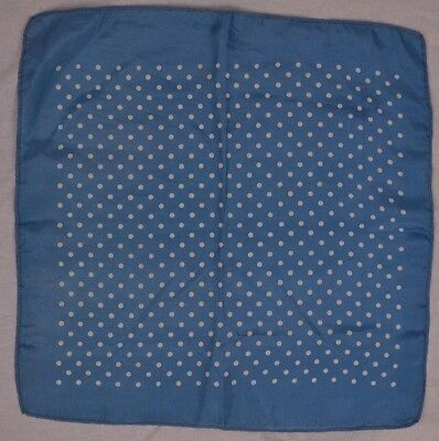 VINTAGE 1950s blue and white silk polka dot handkerchief