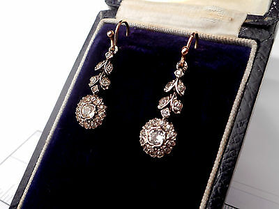 Antique 9Ct Rose Gold & Silver Paste Drop Earrings