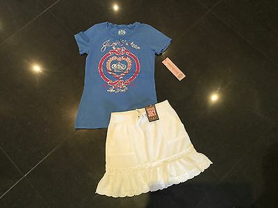 NWT Juicy Couture New White Cotton Towelling Skirt & T-Shirt Set Girls Age 8