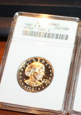 1981 S Type 2 Susan B Anthony Dollar Coin PF68 cameo  ANACS