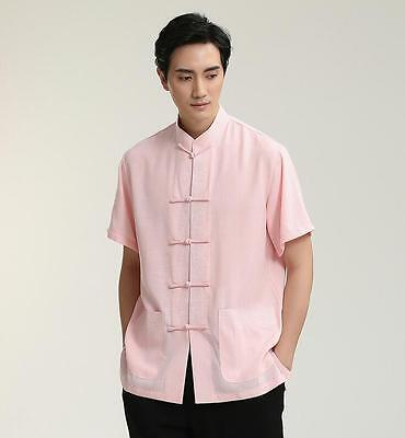 859e4fe5a1f New pink handsome Chinese Men s Linen Kung Fu Shirt Tops Gray Sz  S-M-L-XL