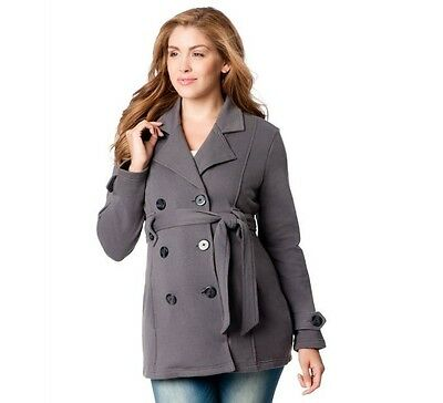 Motherhood Maternity Coat Gray Charcoal Belted Size Small Peacoat Dress Career