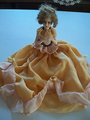 Antique bisque half doll LONG SKIRT VANITY JAR COVER? 1925 REAL HAIR or MOHAIR