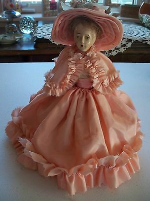 Antique bisque half doll PIN CUSHION 1920s REAL HAIR Hand sewn DRESS HAT OOAK