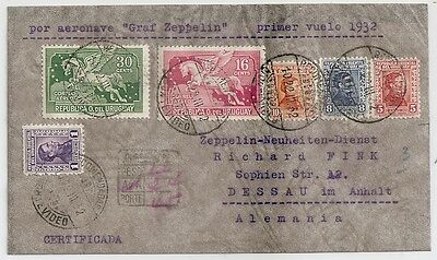 1932 Uruguay To Germany Zeppelin First Flight Cover, Violet Flight Pmk