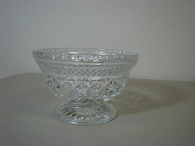 Anchor Hocking Wexford crystal FOOTED Small BOWL diamond glass