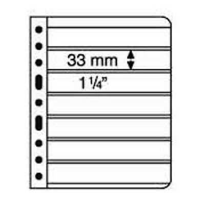 5 CLEAR VARIO STAMP STOCK SHEETS DOUBLE SIDED, 7 STRIPS - (195mm X 33mm STRIPS)