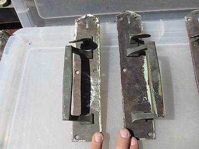 "Vintage Brass Latched Door Handles Pulls Architectural Antique Old Bronze   10""H"