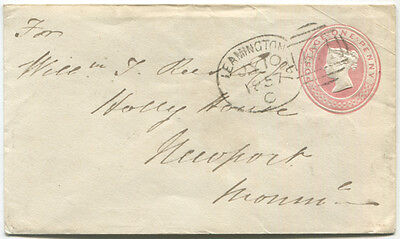 1857 One Penny pink stationery envelope to Newport with spoon cancellation . .