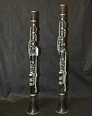 "Pair Eugene Albert ""Albert System"" Clarinets, 1880's Eb? A? For Restoration"