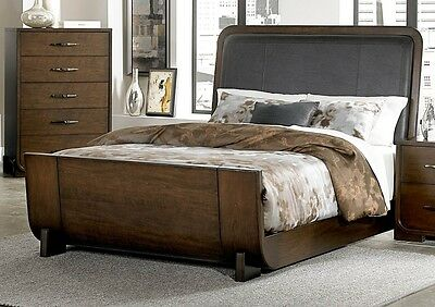 Minato Collection Contemporary Dark Cherry Sleigh Queen Size Bed Frame Furniture