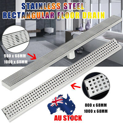 AU 800-1000mm Heelguard Square Stainless Steel Shower Grate Drain Floor Linear