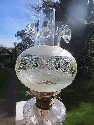 Old  Victorian Style Glass Acid  Etched Duplex Oil Lamp Shade Chipped A/f